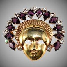 Mazer Sterling Mask Lady with Purple Rhinestone Headdress Face Pin