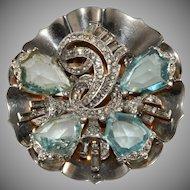 Mazer Aqua Blue Shield Rhinestones Brooch Pin 1940s Vintage Sterling Silver