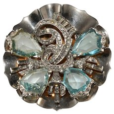 Mazer Aqua Blue Shield Rhinestones Brooch Pin 1940s Vintage Sterling Silver
