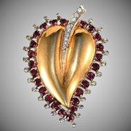 Mazer Sterling Silver Red Rhinestones Heart Leaf Fur Clip Pin Brooch