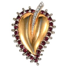 Mazer Sterling Silver Red Rhinestones Heart Leaf Fur Clip Pin Brooch
