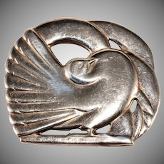 McClelland Barclay Sterling Silver Dove Brooch Pin Vintage Art Deco