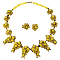 Stanley Hagler by Mark Mercy Necklace Earrings Set Yellow Beads Rhinestones Vintage