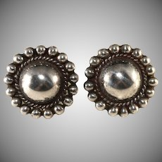 Mexican Silver Domed Earrings Screw Backs 1940s Vintage