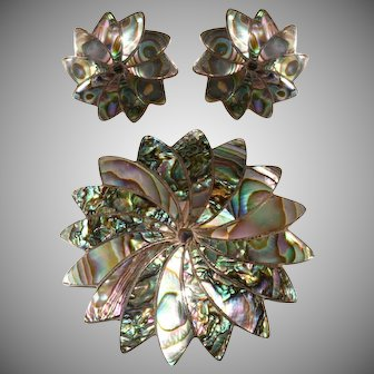 Mexican Sterling Silver Abalone Brooch Earrings Set Marked ICM Vintage 1940s