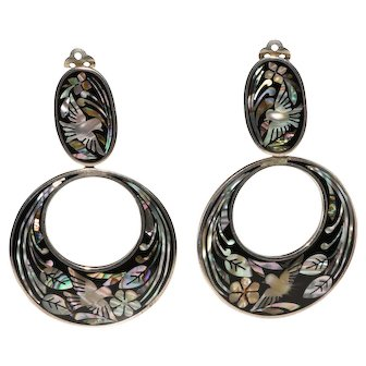 Mexican Silver LARGE Mother of Pearl Inlay Dangle Hoop Earrings MOP Fuentes