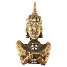 Petite Thai Princess Fur Clip Brass with Rhinestones