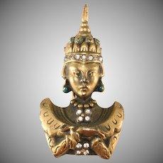 Petite Thai Princess Fur Clip Brooch Pin Brass with Rhinestones