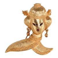 Monet Brooch Geisha Asian Lady Pin 1960s Vintage Rhinestone Mouth