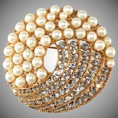 Monet Faux Pearl Brooch with Sparkling Clear Rhinestones 1960s