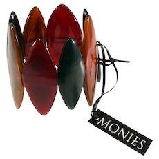 Monies Bracelet Dyed Horn Multicolor Stretch Red Green Brown Gerda Lynggaard