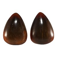 Monies Earrings Dyed Horn Brown Gerda Lynggaard Vintage Unmarked Clip