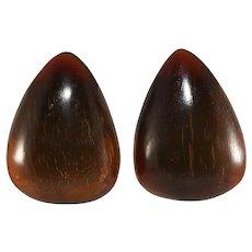 Monies Earrings Dyed Horn Brown Gerda Lynggaard Vintage Unmarked Clip