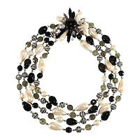 Francoise Montague Necklace Rhinestones Faux Pearls Black Beads French