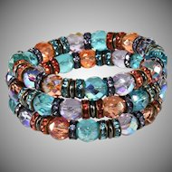 Francoise Montague French Rhinestone Crystal Wrap Bracelet