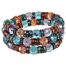 Francoise Montague French Rhinestone Crystal Wrap Bracelet