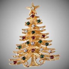 Mylu 1960s Large Rhinestone Christmas Tree Pin