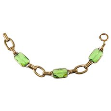 Napier 1920s Peridot Green Glass and Brass Bracelet Vintage