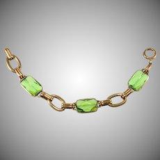 Napier 1920s Peridot Green Glass and Brass Bracelet Vintage
