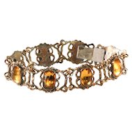Napier Bracelet Amber Glass Early Vintage c. 1930