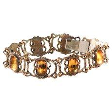 Napier Bracelet Amber Glass Early Vintage c. 1930