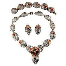 Napier 1950s Amber Rhinestone Silver Tone Necklace Bracelet Earrings Set