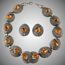 Napier Necklace Earrings Set Amber Rhinestones Vintage
