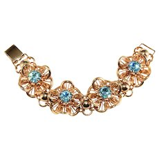 Napier Bracelet Blue Rhinestones Golden Flowers Vintage