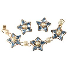 Napier 1960s Stars Bracelet Earrings Set Blue Rhinestones Faux Pearls
