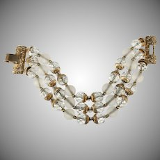 Napier Bracelet Clear Crystal Beads Vintage 1960s