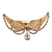 Napier Brooch Golden Angel Wings Rhinestones Vintage Pin