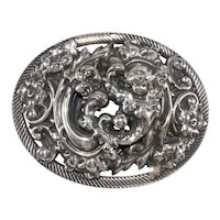Napier Brooch LARGE 1960s Baroque Cherub Silver Plated Oval Silver Plated Vintage Pin
