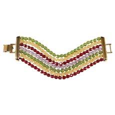 Napier WIDE Multi-color Seven Strand Crystal Bracelet