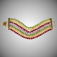 Napier WIDE Red Green Yellow Purple Crystals Beads Bracelet