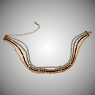 Napier Multi-color Glass Bead Choker Necklace