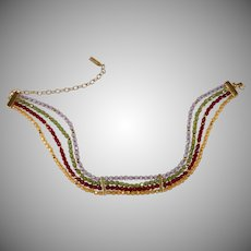 Napier Multi-color Glass Bead Choker Necklace
