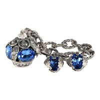 Napier Bracelet Earrings Crown Charm Garland Blue Rhinestones Vintage