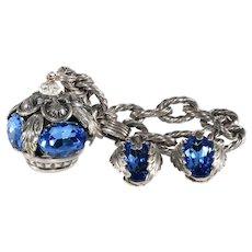 Napier Bracelet Earrings Crown Charm Garland Blue Rhinestones Vintage