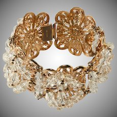 Napier WIDE Clear Crystal Filigree Bracelet Vintage 1950s