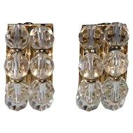 Napier 1950s Half Hoop Clear Crystal Earrings