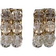 Napier 1950s Half Hoop Clear Crystal Earrings