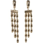 Napier Gold Plated Rice Bead Dangle Earrings Vintage 1950s