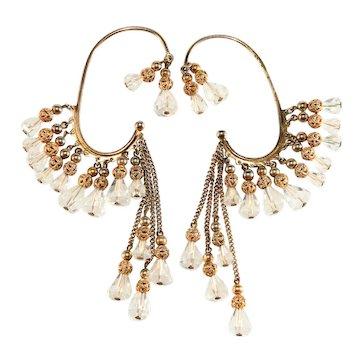 Napier Ear Cuffs Dangle Clear Crystal Beads Chains Earrings Vintage