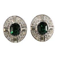 Napier Earrings Clear Emerald Green Rhinestones Pierced Ovals Vintage