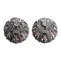 Napier Earrings 1950s Baroque Shell LARGE Silver Plated Clip Backs Vintage