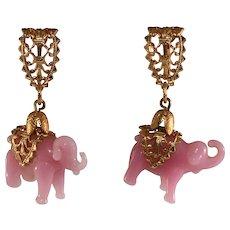 Napier Earrings Elephants Pink Glass Dangles Vintage As Is