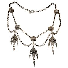 Napier 1950s Etruscan Revival Festoon Necklace