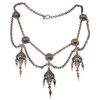 Napier 1950s Etruscan Revival Festoon Necklace