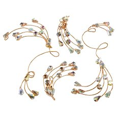 Napier Earrings Ornaments Fantasy for the Ear Vintage Rare 1960s Iridescent Rhinestones