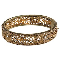 Napier Bracelet Early c. 1930 French Filigree Cuff Hinged Bangle Vintage Small Size